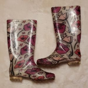 Coach Pink Flower Print Rain Boots Size 6